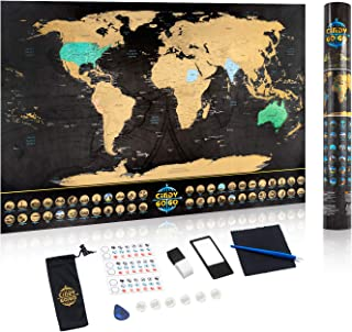 CindyGoGo Scratch Off World Travel Map ¨CTrack Your Adventures, with All US States Outlined and 48 World National Landmarks, 24x17 inch Poster, Scratcher Included