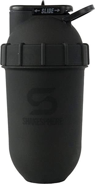 ShakeSphere Tumbler Protein Shaker Bottle 24oz Capsule Shape Mixing Easy Clean Up No Blending Ball Or Whisk Needed BPA Free Mix Drink Shakes Smoothies More Matte Black