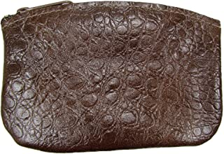 North Star Men's Large Leather Zippered Coin Pouch Change Holder (5 X 3.5 X 0.25 Inches, Brown Croco)