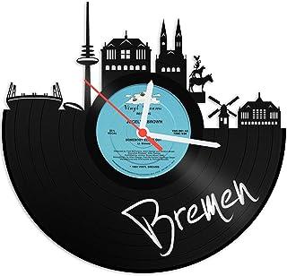 GRAVURZEILE Wanduhr aus einer echten Schallplatte - Wähle eine Stadt - 30cm Groß lautloses Uhrwerk - Schallplattenuhr, ideale Geschenkidee Farbe Bremen