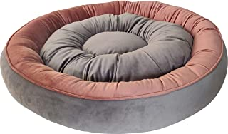 Mellifluous Large Size Cat and Dog Reversible Pet Bed, Peach-Grey