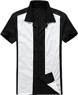 Mens Rockabilly Vintage 50's Clothing Short Sleeve Shirts Black White