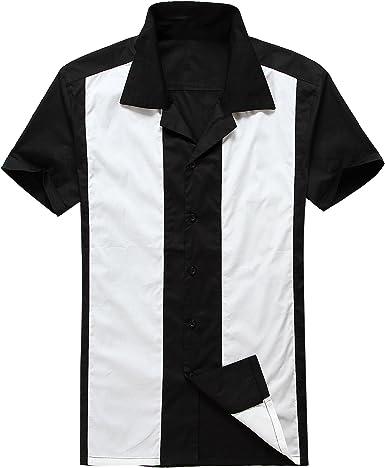 Candow Look Moda para Hombre Casual Camisas de Vestido Cowboy Blanco Manga Corta Vendimia