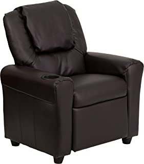 Flash Furniture Contemporary Brown Leather Kids Recliner with Cup Holder and Headrest,..