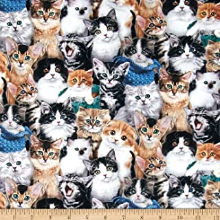 Elizabeth's Studio Breeds Packed Cats Multi Fabric by The Yard, Multicolor