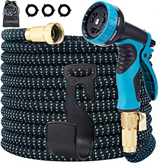 LOOHUU Expandable Garden Hose 100ft, Water Hose with Triple Latex Core, 3/4 Solid Brass Fittings, Extra Strength 3750D Fab...