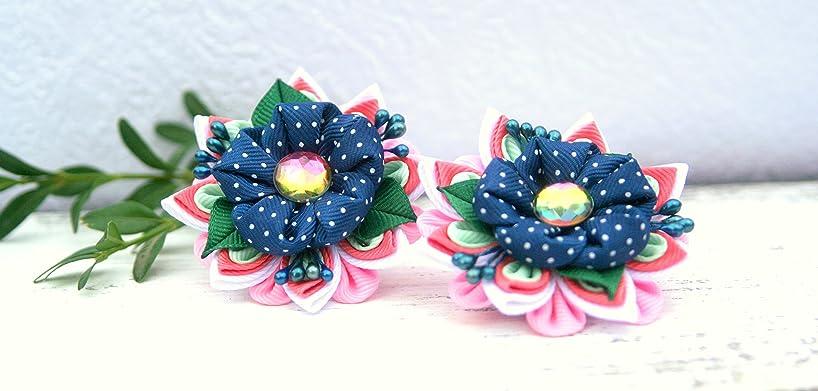 Polka dot hair clip blue set of 2