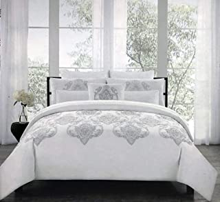 Tahari Home Bedding Full/Queen Size Luxury 3 Piece Duvet Comforter Quilt Cover Shams Set Embroidered Silver Metallic Thread Damask Medallion Pattern on Solid True Snow White - Royal Embroidery