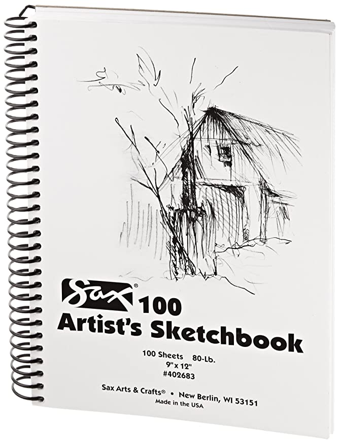 Sax Artists Spiral Bound Sulphite Sketchbook - 9 x 12 inches - 100 Sheets per Pad - White