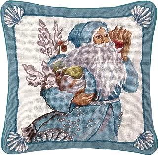 Peking Handicraft Coral and Shells Santa Needlepoint Pillow