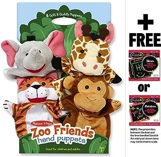 Zoo Friends 4-Piece Hand Puppets Gift Set + FREE Melissa & Doug Scratch Art Mini-Pad Bundle
