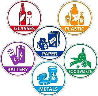 6 Pièces Stickers de Recyclage pour Poubelle Étiquettes Autocollant pour Poubelle Imperméables Réajustables Sticker pour T...