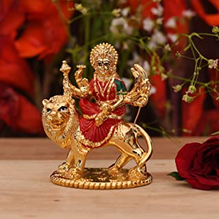 CraftVatika Gold Plated Durga Ma Statue India Figurine Idol for Car Dashboard Mandir Pooja Murti Temple Puja Home Office D...