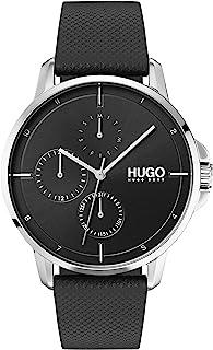 ساعة يد بمينا اسود وسوار جلدي اسود للرجال من هوغو بوس - طراز 1530022