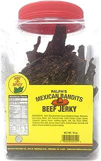 Ralph's Beef Jerky Mexican Bandits Hot 15oz Jar Dry Thin Crunchy Jerky Real Beef Jerky