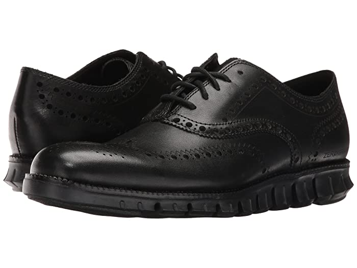 Cole Haan Zerogrand Wing Ox (Black Closed Holes/Black) Men's Lace Up Wing Tip Shoes