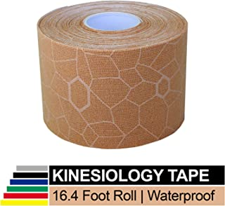 TheraBand Kinesiology Tape, Waterproof Physio Tape for Pain Relief, Muscle & Joint Support, Standard Roll with XactStretch Application Indicators