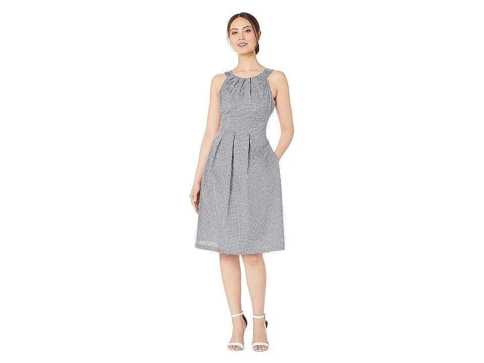 Nine West Sleeveless Pleated Neck Fit Flare Midi Dress (Navy/White) Women