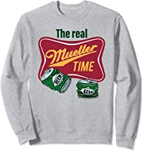 The Real Mueller Time Label Empty Crushed Beer Cans Sweatshirt