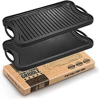 Fresh Australian Kitchen Large Pre-Seasoned Cast Iron Griddle. Reversible Flat Stove Top Double Burner Grill BBQ Plate. 51...