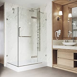 VIGO 32 x 48 Inch Frameless Rectangular Hinged-Pivot Shower Door Enclosure with Magnetic Waterproof Seal Strip/304 Stainless Steel Hardware/Tempered Glass/Brushed Nickel Finish/Right Drain Base Included