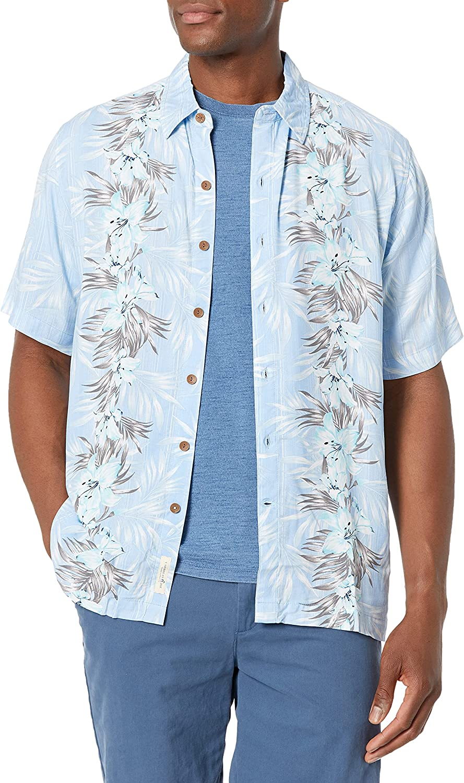 Caribbean Joe Men's Short Sleeve Printed Front Panel Button Down Shirt