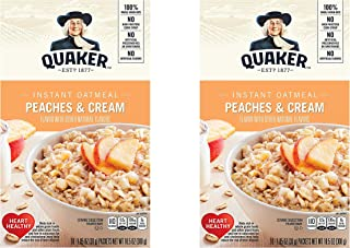 Quaker Instant Oatmeal, Peaches & Cream, Breakfast Cereal, 10 Packets, 10.5oz (Pack of 2 Boxes)