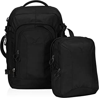Hynes Eagle 2 in 1 Travel Backpack 48L Carry on Backpack with Removable Daypack, Black