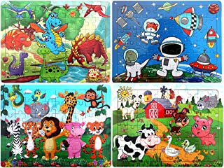 Wooden Puzzles for Kids Age 3-8, [60 Piece] Animal Puzzles Preschool Educational Learning Toys for Toddlers, Jigsaw Puzzles Toy Set of 4 Theme - Dinosaur, Safari, Farm and Space