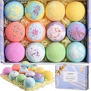PUURVSAS Floral Bath Bombs Gift Set, 12PCS Handmade SPA Bubble Bath Bombs Contain Essential Oil, Sea Salt, Shea Butter to ...