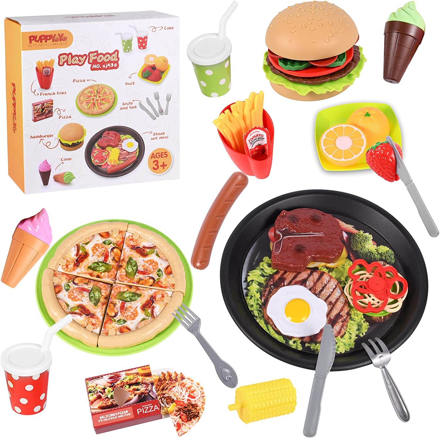 Puppyoyo Play Food Toys for Kids, 3in1 Fast Food Toys, Hamburger Fries Set Meal, Pizza Set Meal, Steak Set Meal, Cut Toy Food Fruits, Gift for Ages 3+ Toddler Girls Boys