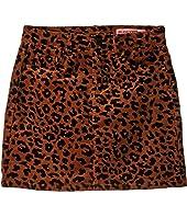 Corduroy Leopard Skirt (Big Kids)