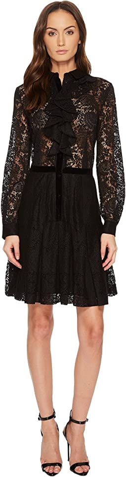 Contrasting Lace Dress with Jewel Buttons