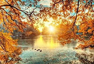 CSFOTO 6x4ft Background for Autumn Lake Sunrise Photography Backdrop Duck Fall Park Landscape Sunset Beautiful Nature Scenery Yellow Leaves Holiday Vacation Photo Studio Props Polyester Wallpaper