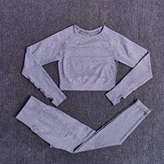 Beiziml Women's Sportswear Seamless Yoga Sets Women Sportswear Fitness Long Sleeve Short Top + High Waist Exercise Legging...