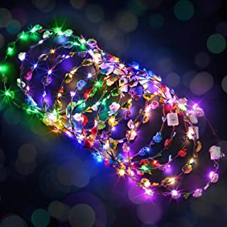 Fascigirl LED Flower Crown,10PCS Flower Wreath Garland Flower Headdress Luminous Headpiece Light-up Hair Hoop for Wedding ...