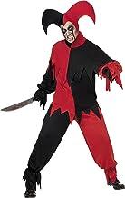 Smiffys Disfraz de bufón de Miedo, Negro y Rojo, con Parte de Arriba, pantalón y Gorro