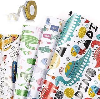 Papier Cadeau Rouleau Lot de 4 Papier Cadeau et 2 Rouleaux de Ruban Feuilles De Papier d'emballage Impression Dorée Cadeau...