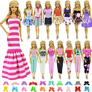 ZITA ELEMENT 5 Sets Casual Wear Clothes Mix Party Dress with 5 Pairs Shoes for 11.5 Inch Girl Doll Outfits - Fashion Handmade 11.5 Inch Girl Doll Clothing and Accessories Gift