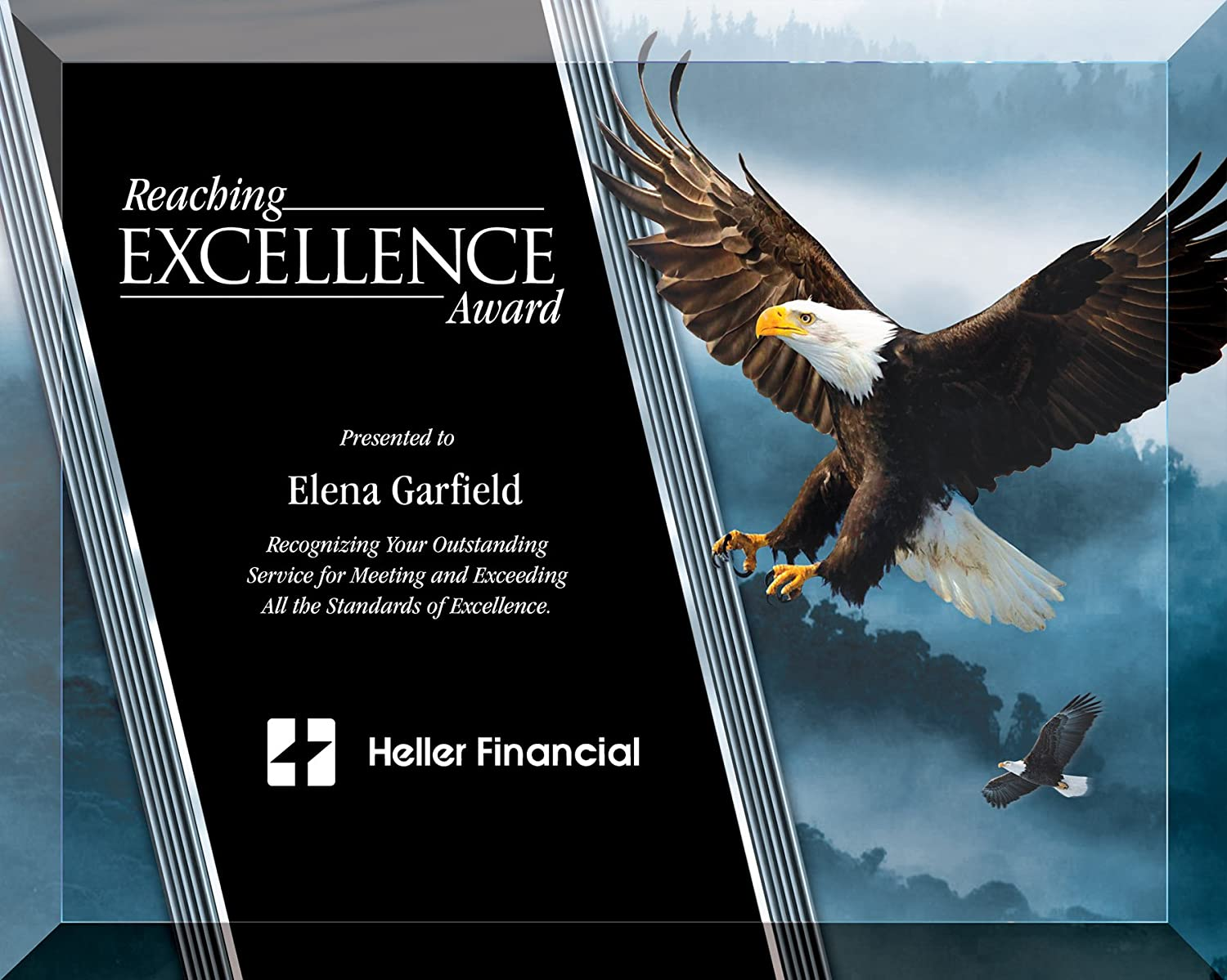8 X 10 Inch Full Color Plaque Glass Includes Personalizat Eagle Over Limited price item handling