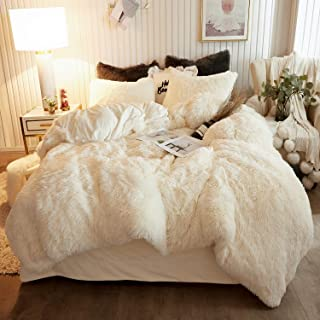 XeGe Plush Shaggy Duvet Cover Set Luxury Ultra Soft Crystal Velvet Bedding Sets 3 Pieces(1 Faux Fur Duvet Cover + 2 Faux Fur Pillowcases),Zipper Closure(Queen,Light Beige)