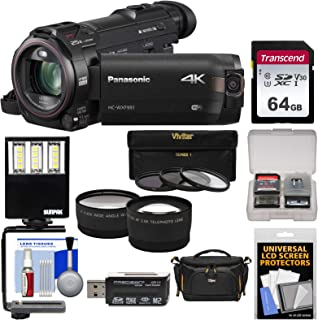 Panasonic HC-WXF991 Wi-Fi 4K Ultra HD Video Camera Camcorder with 64GB Card + Case + LED Light + 3 Filters + Tele/Wide Len...