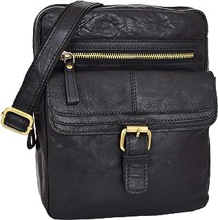 Mens Real Leather Cross Body Organiser Bag Flight Classic Pouch Ashton Black