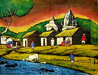Amazing India Online Beautiful Village Scene Indian People Ethnic Cotton Tapestry Wall Hanging 23x19 inch