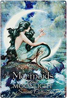 LASMINE Mermaids& Moonlight Tin Advertising Sign Home Decor Bathroom Wall Art Beautiful Vibrant Colors Metal Vintage Outdoor Garden Signs Kitchen Indoor8X12Inch