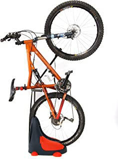 Roll & Store Space Saving Bike Stand for Indoor & Outdoor, Suits All Bicycle Types (MTB, Road, Cruiser, BMX), Built-in Side Storage Units, No Mounting Required, 2 Positions: Vertical and Horizontal.