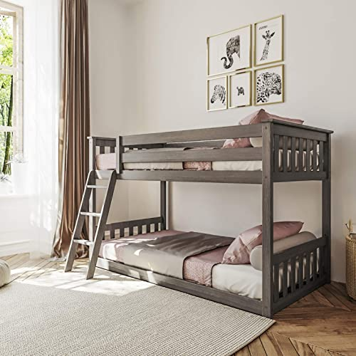 Max & Lily Solid Wood Twin Low Bunk Bed, Clay