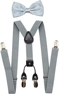 Men's 4 Clips Suspenders and Pre Tied Bow Tie Set for Tuxedo Wedding