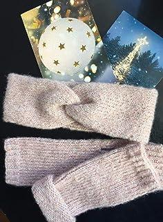 Conjunto de diadema y calentadores de mano de punto, color rosa, talla única, para mujeres
