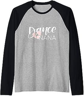 Dance Nana with Heart and Dancer Silhouette - Hand Lettered Raglan Baseball Tee